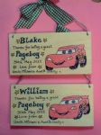 LIGHTNING MCQUEEN CAR PAGEBOY RINGBEARER USHER BEST MAN WEDDING FAVOUR KEEPSAKE THANK YOU SIGN PERSONALISED Handmade Each One Unique OOAK